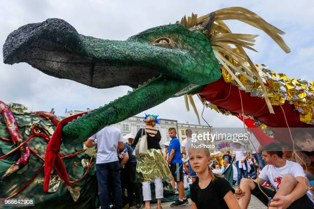 18th Great Dragon Parade marches throught the Main Square in Krakow Poland on 3 June 2018 The annual Great Dragon Parade features more than a...