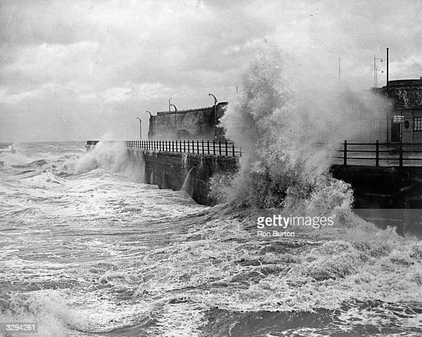 Storms lash the promenade at Margate with winds of eighty to ninety miles an hour