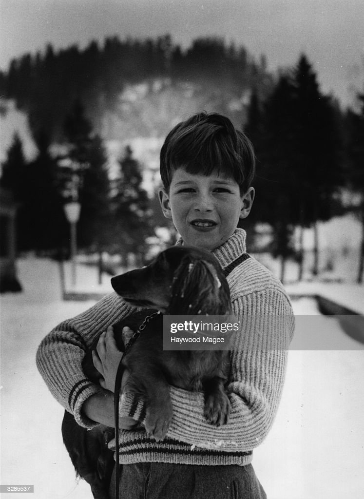 Prince Alexander of Yugoslavia, son of King Peter and Queen Alexandra, on holiday at Gstaad. Original Publication: Picture Post - 7481 - Together Again - pub. 1955