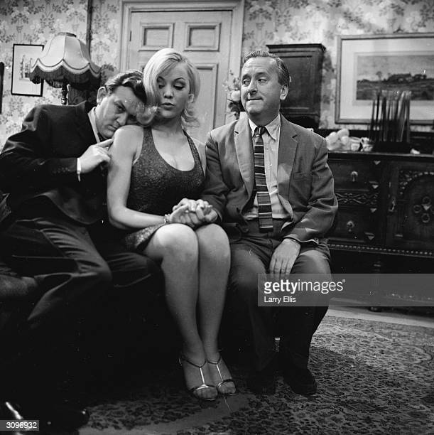 Comic actors Terry Scott Hugh Lloyd and Margaret Nolan costar in the British television series 'Hugh and I'