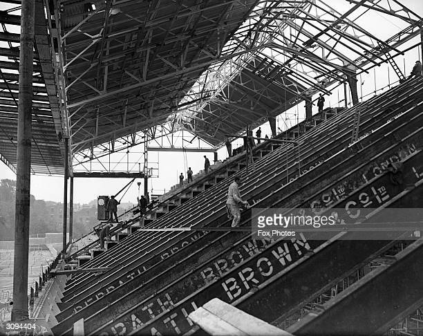 The new grandstand under construction at Arsenal Football Club in Highbury North London