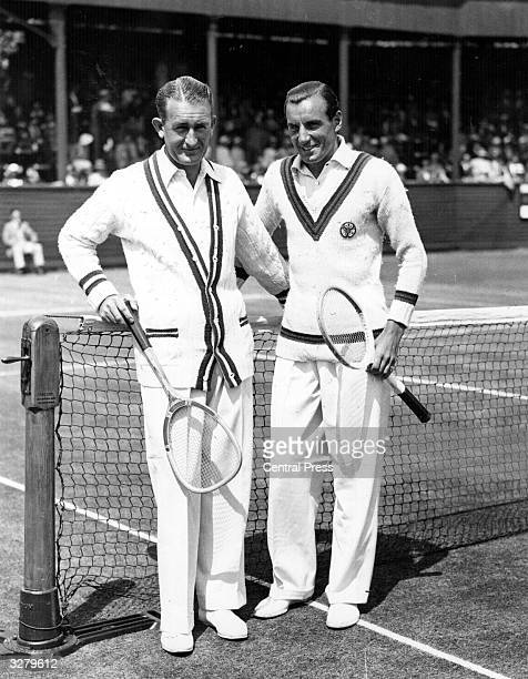 British tennis player Fred Perry with Jack Crawford of Australia during a tennis tournament between England and Australia at Eastbourne Sussex