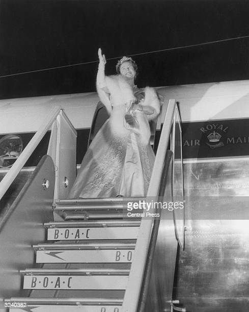 Queen Elizabeth, The Queen Mother , waving goodbye as she leaves Salisbury Airport at the end of her visit to the Federation of Rhodesia and...