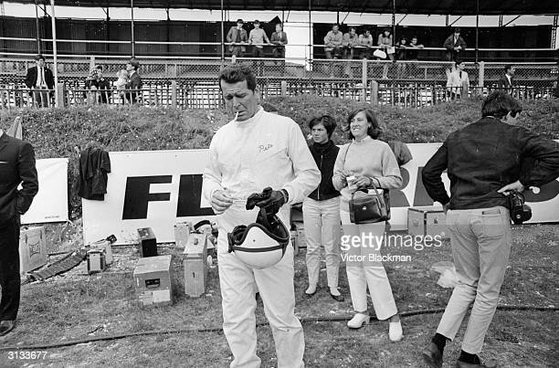 American actor James Garner filming John Frankenheimer's racing drama 'Grand Prix' at Brands Hatch