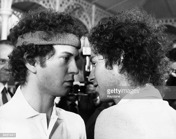 American tennis champion John McEnroe views a waxwork of himself by sculptress Judith Craig during a private viewing at Madame Tussaud's London