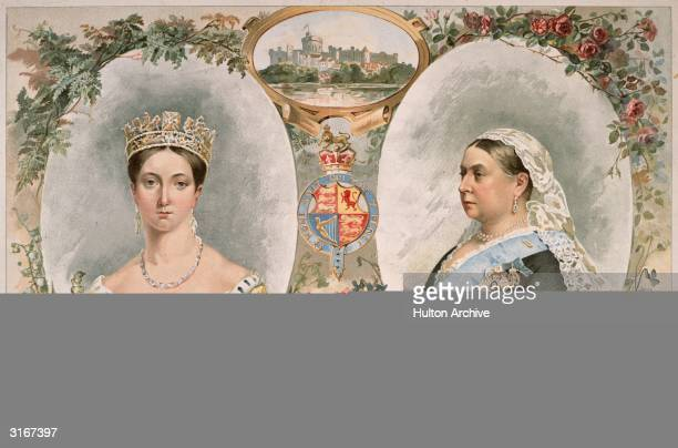 Queen Victoria at the start of her reign in 1837 and as she appeared fifty years later at the time of her Golden jubilee Drawings of Windsor Castle...