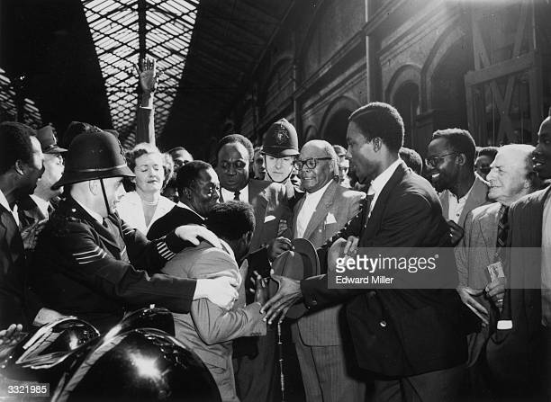 Prime Minister of Ghana Dr Kwame Nkrumah arrives in London to an enthusiastic welcome, for the Commonwealth Prime Ministers Conference.