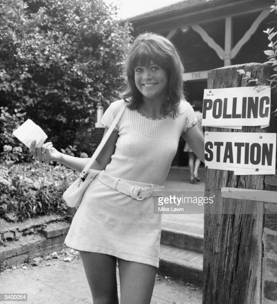 British film actress Sally Geeson at her local polling station to vote for the first time