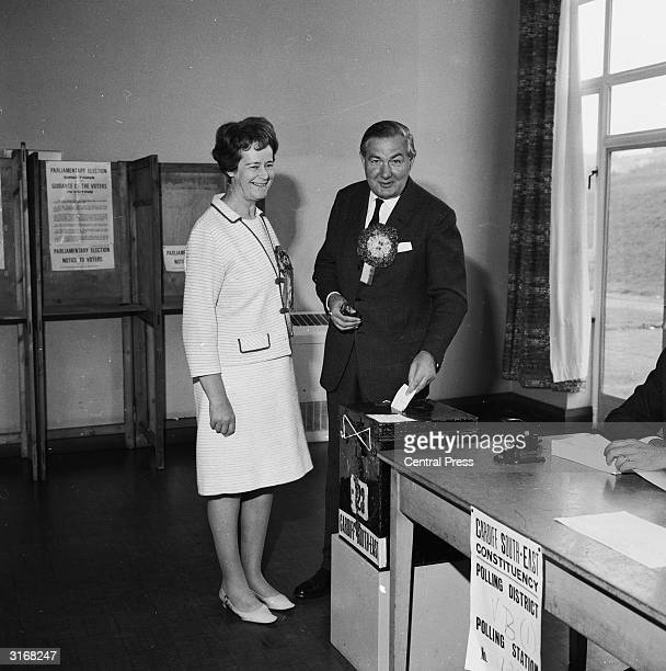 Home Secretary James Callaghan and his wife Audrey at the polling station in Llanrumney, Cardiff south east, where he holds the seat with a majority...