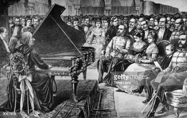 Hungarian composer and pianist Franz Liszt performing in Budapest The front row of the audience includes right centre Emperor Franz Joseph I the...
