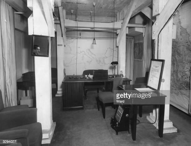 The office end of Winston Churchill's underground living quarters, in Marsham Street, London.