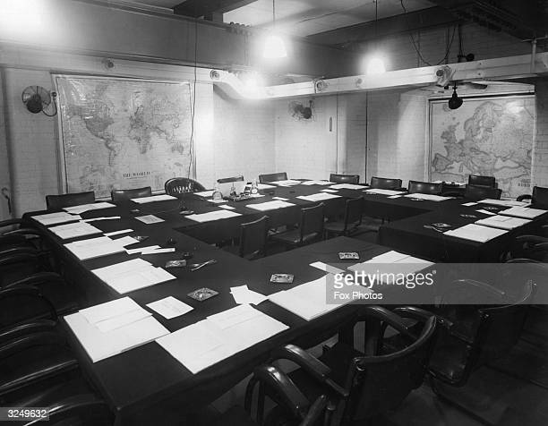 The War Cabinet room situated under Whitehall in London