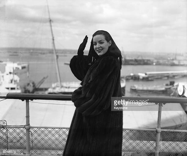 Mexican actress Maria Felix leaves Southampton for the United States on board the SS Queen Elizabeth