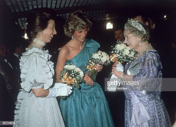 Princess Anne, The Princess Royal, Princess Diana, Princess of Wales and Queen Elizabeth the Queen Mother chatting at the premiere of David Lean's...