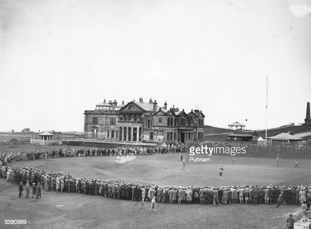 Golfers Joyce Wethered and Glenna Collett Vare on the 18th Green during the final of the Ladies' British Open Amateur Championship at St Andrews in...