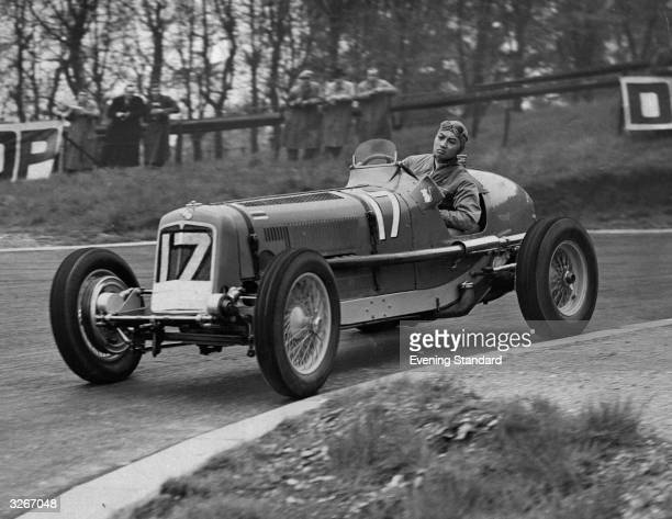 Thai Prince Birabongse practices for a motor race at Crystal Palace driving an ERA