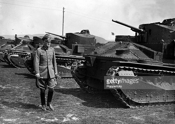 18th May 1937 Dorset England German War Minister Field Marshall Werner von Blomberg inspects British tanks during a visit to the Royal Tank Corps at...