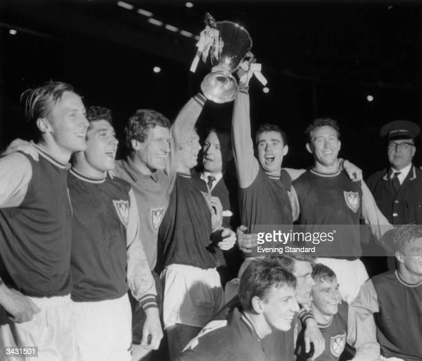 Members of the West Ham Squad including Bobby Moore and Martin Peters and Geoff Hurst after the club won the European Cup Winners Cup at Wembley...