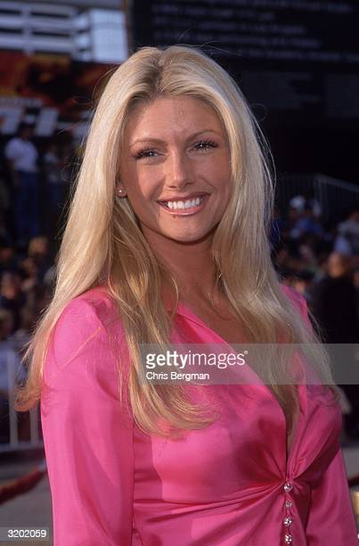 Headshot of American actor and Playboy Playmate Brande Roderick smiling while attending the premiere of director John Woo's film 'Mission Impossible...