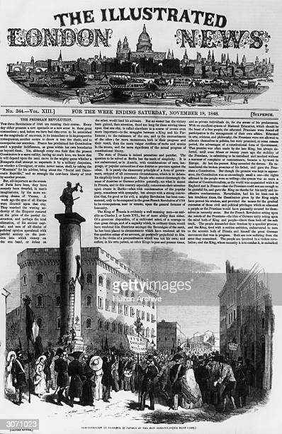 The frontpage of the Illustrated London News featuring an article on the Prussian Revolution.