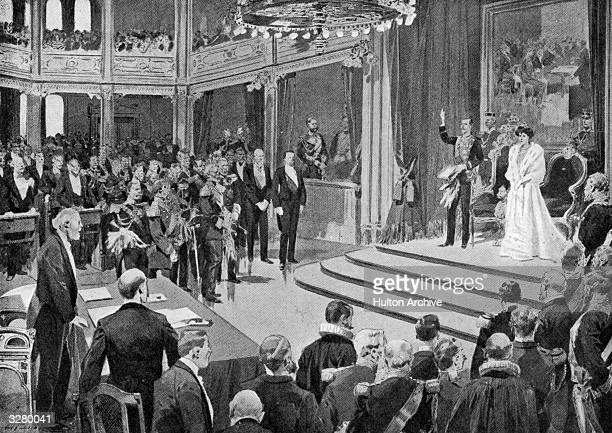 Prince Charles of Denmark taking the oath to the Norwegian Constitution, after being elected King of Norway. He took the name Haakon VII upon his...