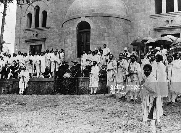 Emperor of Abyssinia Haile Selassie holds court in Addis Ababa during the war against Italy
