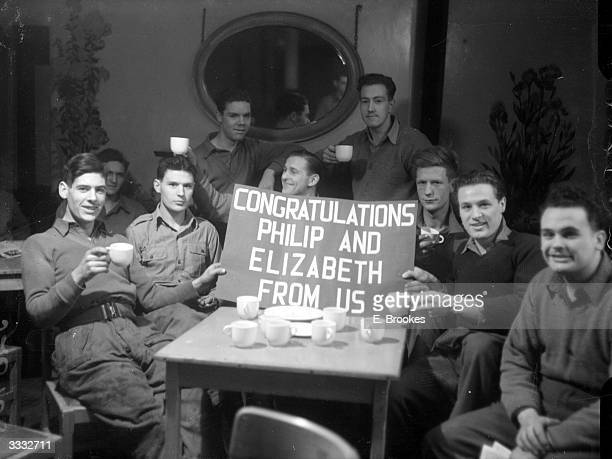 Members of the Royal Horse Guards at their barracks in Knightsbridge London where they are posing with their notice to Princess Elizabeth and...