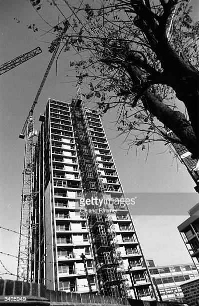 Constructing high rise flats at the Elephant and Castle in London.