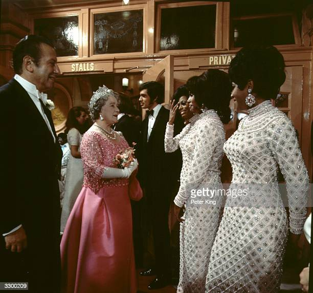Queen Elizabeth The Queen Mother meets crooner Engelbert Humperdinck as well as American pop vocal trio Diana Ross and the Supremes after watching...