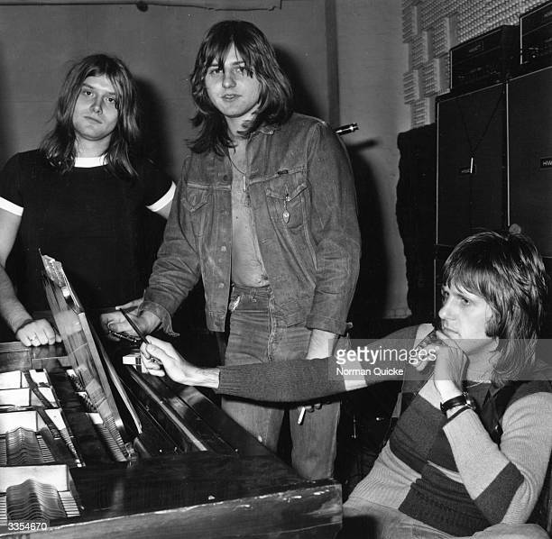 Progressive rock group ELP, or Emerson, Lake and Palmer, in the studio for the recording of their album, 'Trilogy'. From left to right: Carl Palmer ,...