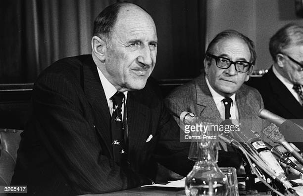 Dr Joseph Luns , Secretary General of NATO and Frederick Mulley, the British Minister of Defence at a Nuclear Planning conference in London.