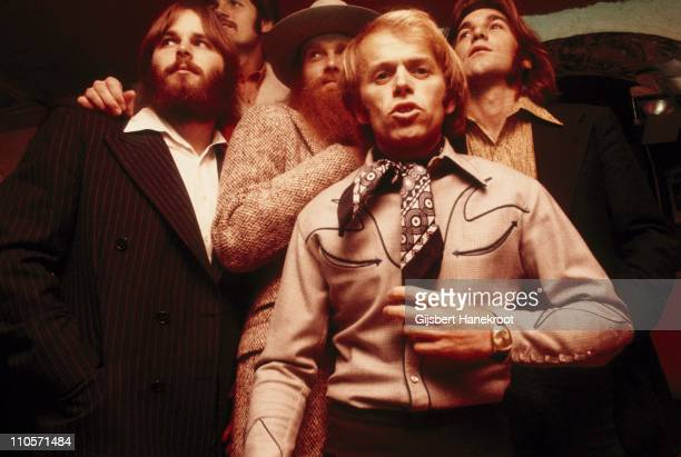 18th NOVEMBER: The Beach Boys posed backstage at Top Of The Pops in London on 18th November 1970. Left to Right: Carl Wilson, Bruce Johnston, Mike...