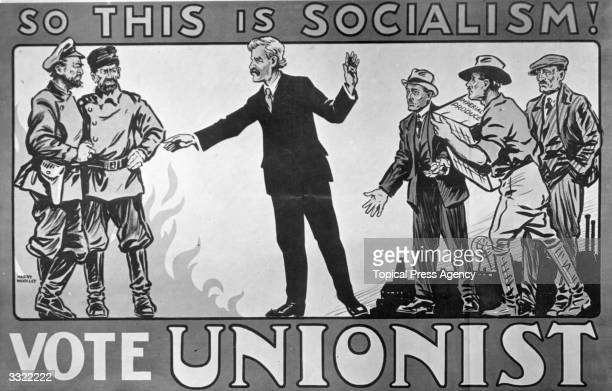 Poster depicting Labour leader Ramsay MacDonald embracing socialism, in an effort to encourage the electorate to vote Unionist in the forthcoming...