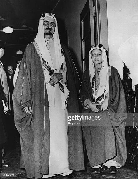 Prince Faisal of Saudi Arabia , later King Faisal, arrives in New York with his 9 year old son Mohammed.
