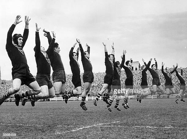 The Australian Rugby League Team doing their 'War Dance' before their match Original Publication Picture Post 6118 Australia Loses A Test pub 1952