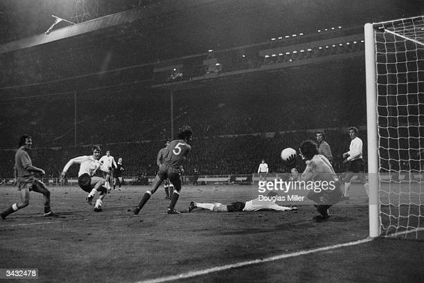 Allan Clarke making a goal attempt during a World Cup match against Poland at Wembley England drew 11 and went out of the competition