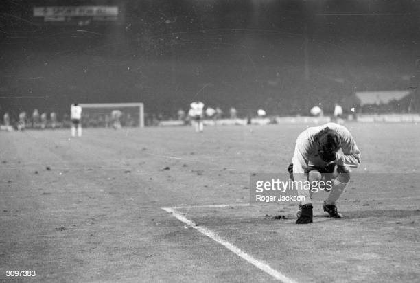 During a World Cup qualifying match against Poland the England goalkeeper Peter Shilton turns away unable to watch as Allan Clarke scores from the...