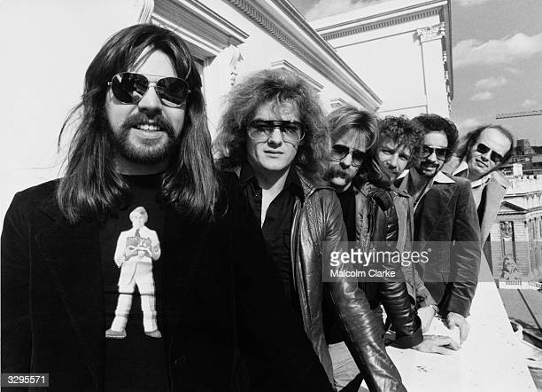 American rock singer and songwriter Bob Seger and his Silver Bullet Band Drew Abbott Robyn Robbins Alto Reed Chris Campbell and Charlie Allen Martin...