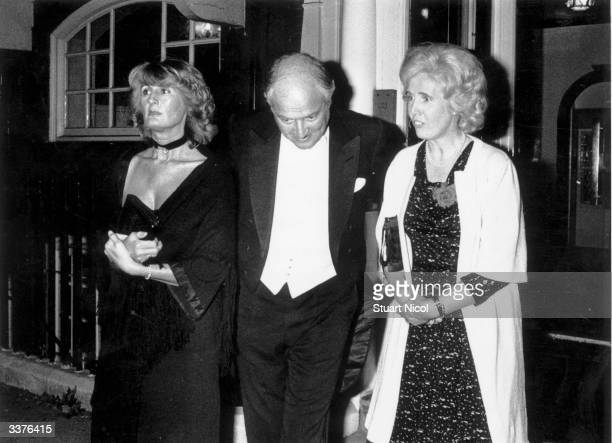AngloFrench financier Sir James Goldsmith with his wife Annabel and Baroness Falkender at the launch of a book by Henry Kissinger