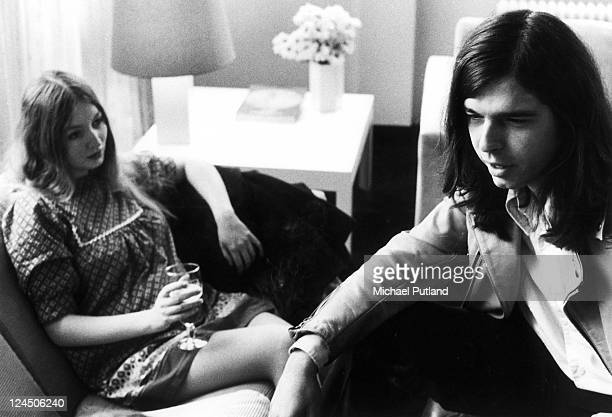 Record producer Tony Visconti with his wife singer Mary Hopkin in Sounds Newspaper offices London 18th October 1972
