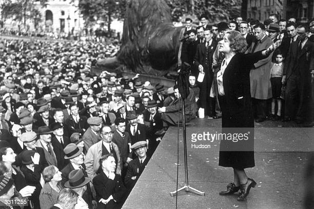 Labour MP Ellen Wilkinson addressing a 'Save Peace' demonstration during the CzechGerman crisis in Trafalgar Square London