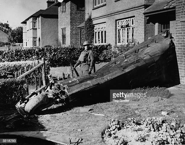Part of the tail end of the fuselage of a German Junkers 88 bomber which crash landed on the side of a house in Kent