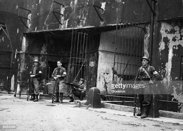 French troops manning the entrance to an underground fort on the Maginot Line during World War II