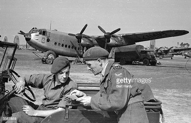 Major Crisp Jones who is in charge of airfield organisation and the distribution of cargo at Wunstorf Airfield during the Berlin Airlift Original...