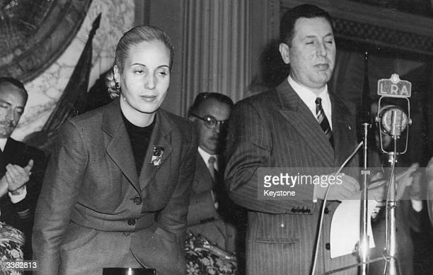 Argentinian President Juan Peron announces the creation of a 'Gran Medalla Peronista Grade Extrordinaire' for presentation to his wife Eva Peron who...