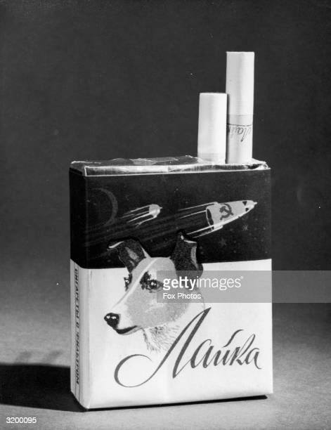 A packet of Russian cigarettes depicting the Sputnik space satellites and the first dog in space Laika