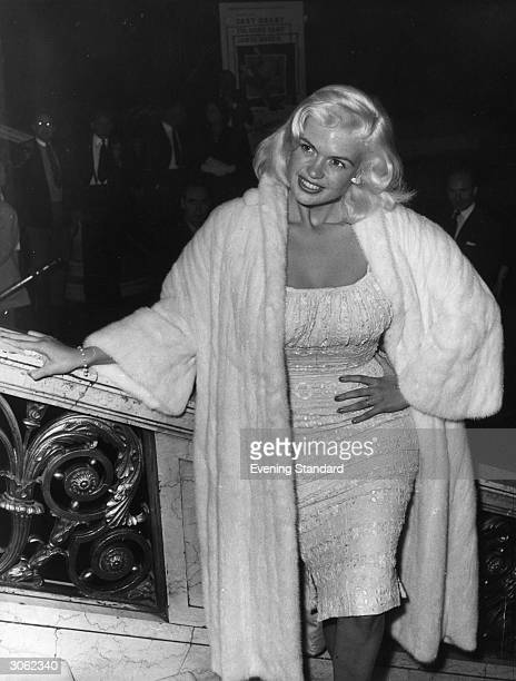 American actress Jayne Mansfield at the Empire Cinema in Leicester Square