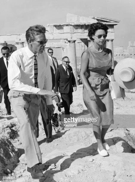 Princess Margaret and her husband Lord Snowdon on a holiday visit to the Acropolis Athens