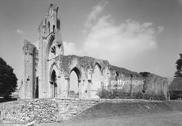 The historic ruins of the Abbey church at Glastonbury in Somerset.
