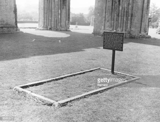The site of what is claimed to be the tomb of King Arthur and Queen Guinevere amongst the historic ruins of the Abbey at Glastonbury in Somerset